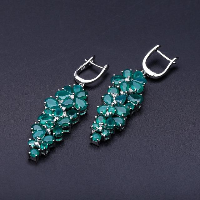 Gem's Ballet 16.44Ct Natural Agate Gemstone Drop Earrings 925 Sterling Silver Green Onyx Earrings Fine Jewelry For Women Wedding-in Earrings from Jewelry & Accessories on Aliexpress.com | Alibaba Group