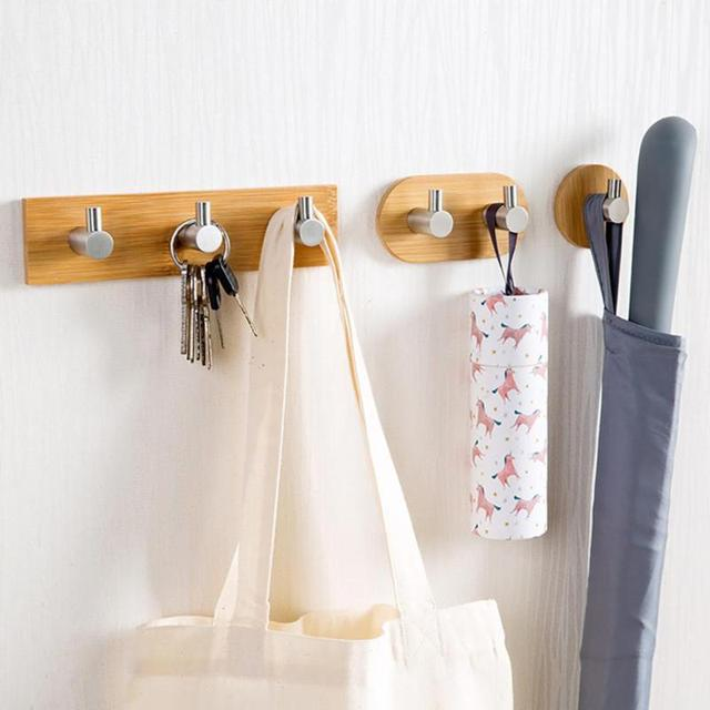 Wall Hangers For Clothes Delectable Sucker Seamless Hook Natural Bamboo Stainless Steel Wall Hook
