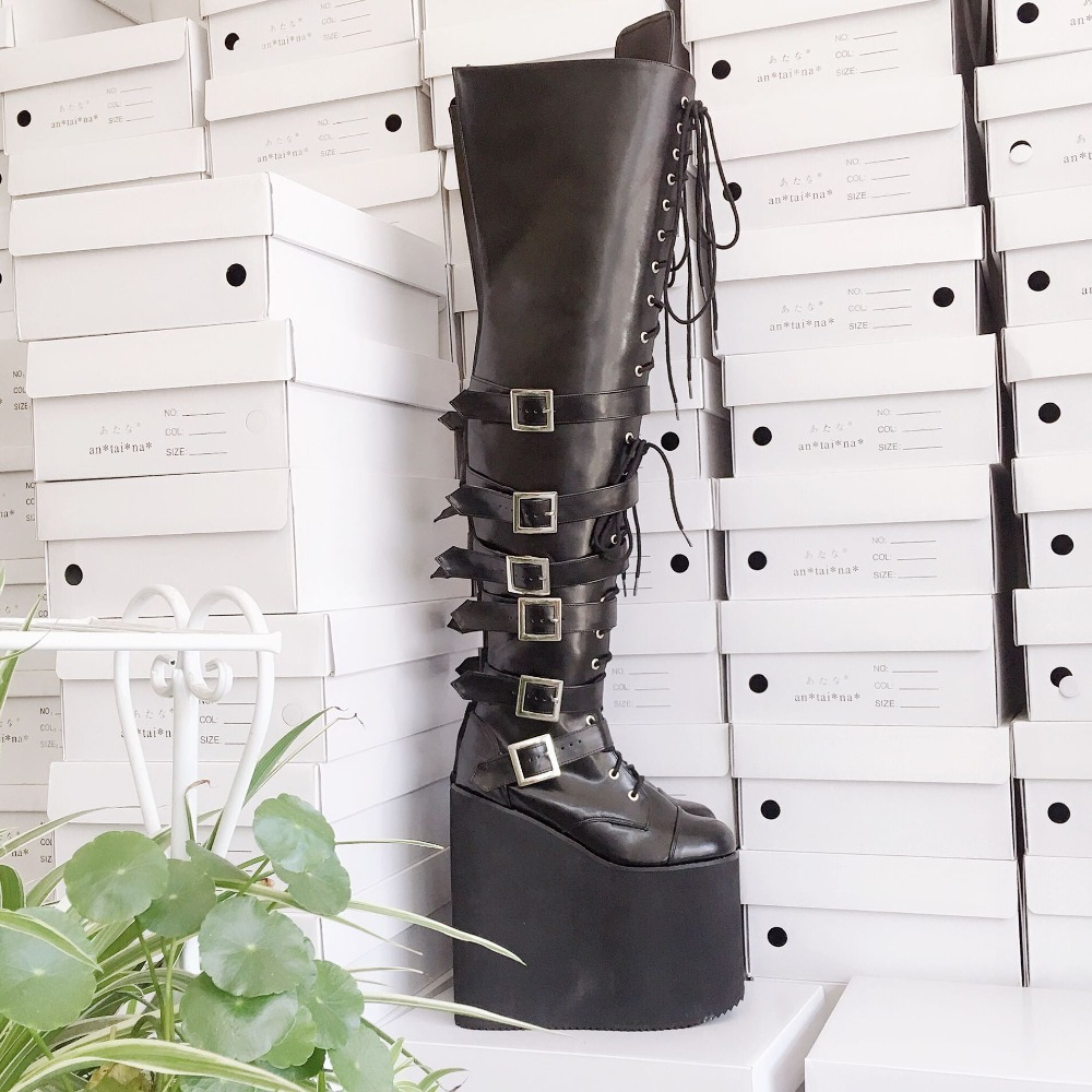 20cm-High-Platform-Japanese-Style-Black-Over-the-Knee-Lolita-Thigh-Boots-Lace-Up-Princess-Uniform-Winter-Boots- 11