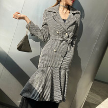 LANMREM 2018 Double-breasted Gray Plaid Fishtail Dress Type Coat New Fashion Autumn Winter Slim Type Clothing For Women YF04002(China)