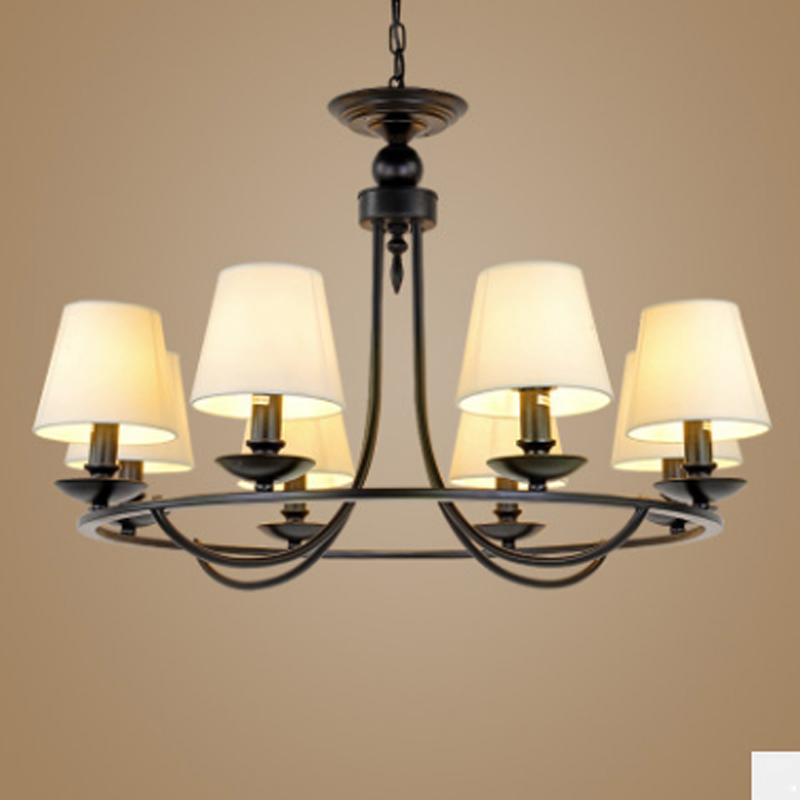 American Country Black Iron Paint 6 Heads Ceiling