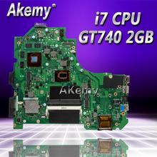Akemy K56CM для ASUS K56CB K56CM A56C S550CM Материнская плата ноутбука i7 Процессор GT740 2 Гб плата Тесты S550CD K56CM плата PM