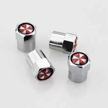 4pcs Car styling Aluminum alloy Umbrella corporation Car Wheel Tire Valves Tyre Air Caps Case Resident Evil Car styling(China)