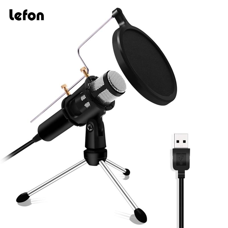 Lefon Professional Microphone Condenser For Computer Laptop PC USB Plug +Stand Studio Podcasting Recording Microfone Karaoke Mic