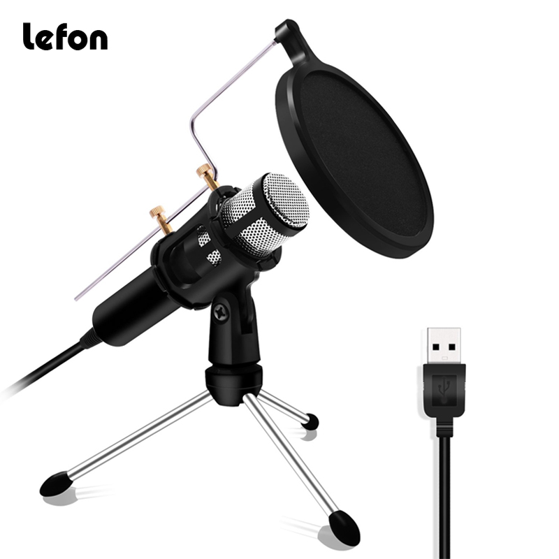 Lefon condensador microfone profissional para computador portátil usb plug + suporte estúdio podcasting gravação microfone karaoke microfone