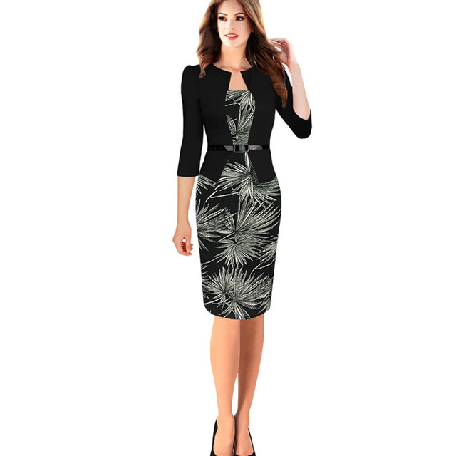 ea5911e8d26 Womens Plus Size Work Office Dress xxl xxxl 4xl Floral Print 3 4 Sleeve  Stand Collar Belt Black Formal Knee Length Dress Suit