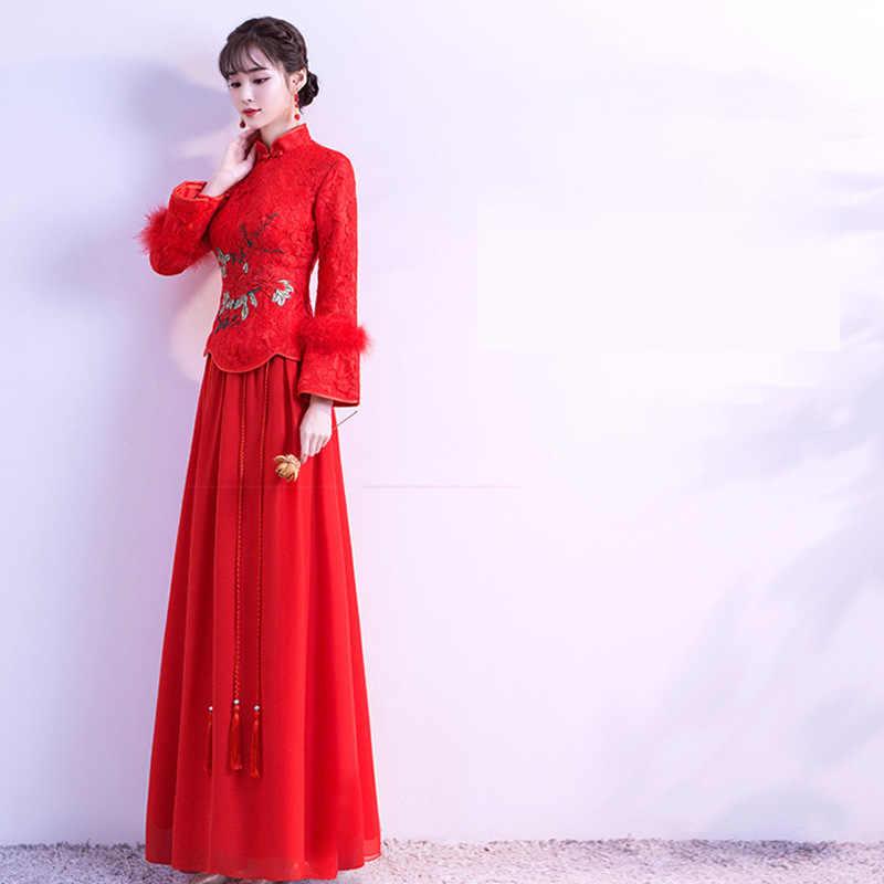 Зимняя женская красная вышивка павлин тонкая рубашка в аристократическом стиле и юбка Свадебный костюм полная длина Теплый Кисточкой Qipao свадебное платье комплект