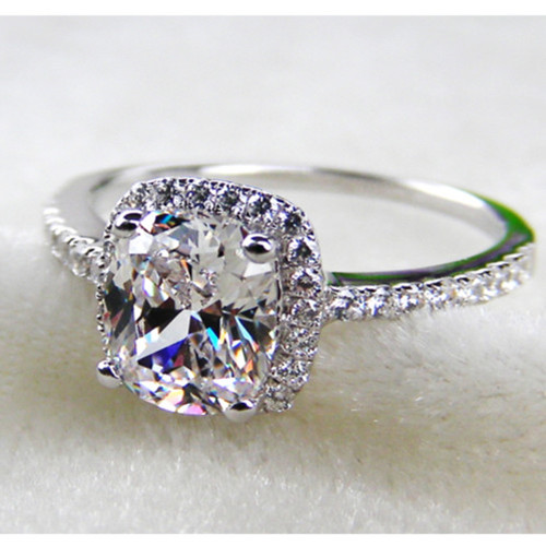 2CT Cushion Shape Synthetic Diamonds Ring 925 Sterling ...