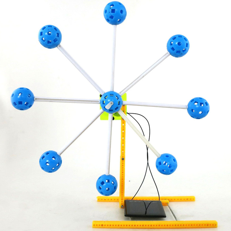 Solar Power Rotatable Ferris Wheel Fun 3d Diy Miniature Model Kits Puzzle Toys Children Educational Boy Splicing Hobby Building