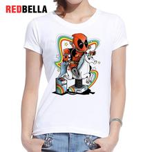 REDBELLA 2017 T-shirt Women Rainbow Unicorn Licorne Deadpool Cartoon Super Hero Tees Feminina Printed Cotton White Top Clothing