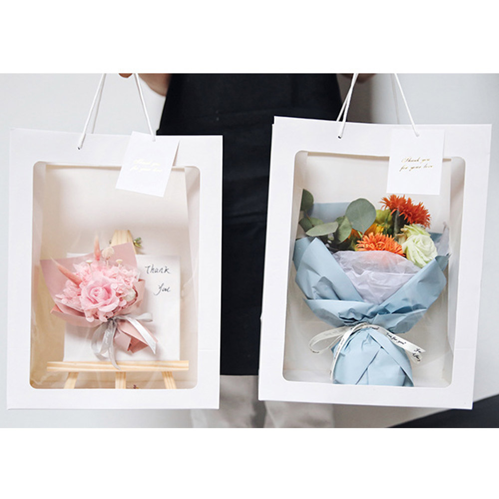 5pcs/Set Flower <font><b>Paper</b></font> Gift bag <font><b>with</b></font> <font><b>handle</b></font> Wedding favor Portable Gift <font><b>paper</b></font> <font><b>Box</b></font> window bag Christmas wedding Party Favors image