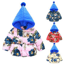 Winter Spring Warm Kid Baby Girl Toddler Winter Padded Coats Down Jackets Floral Hoodies Outerwears