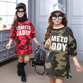 fleece thick t shirts green red dress for girls winter camouflage letters little teen casual dresses for girls long sleeve tops