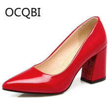 Womens Patent Leather Pumps Shoes Chunky Heel Pointed Toe Office Lady Pumps All Season Shoes Black Red Evening Shoes baoyafang pointed toe patent leather womens wedding shoes black red blue ladies med heel pumps shoes woman buckle