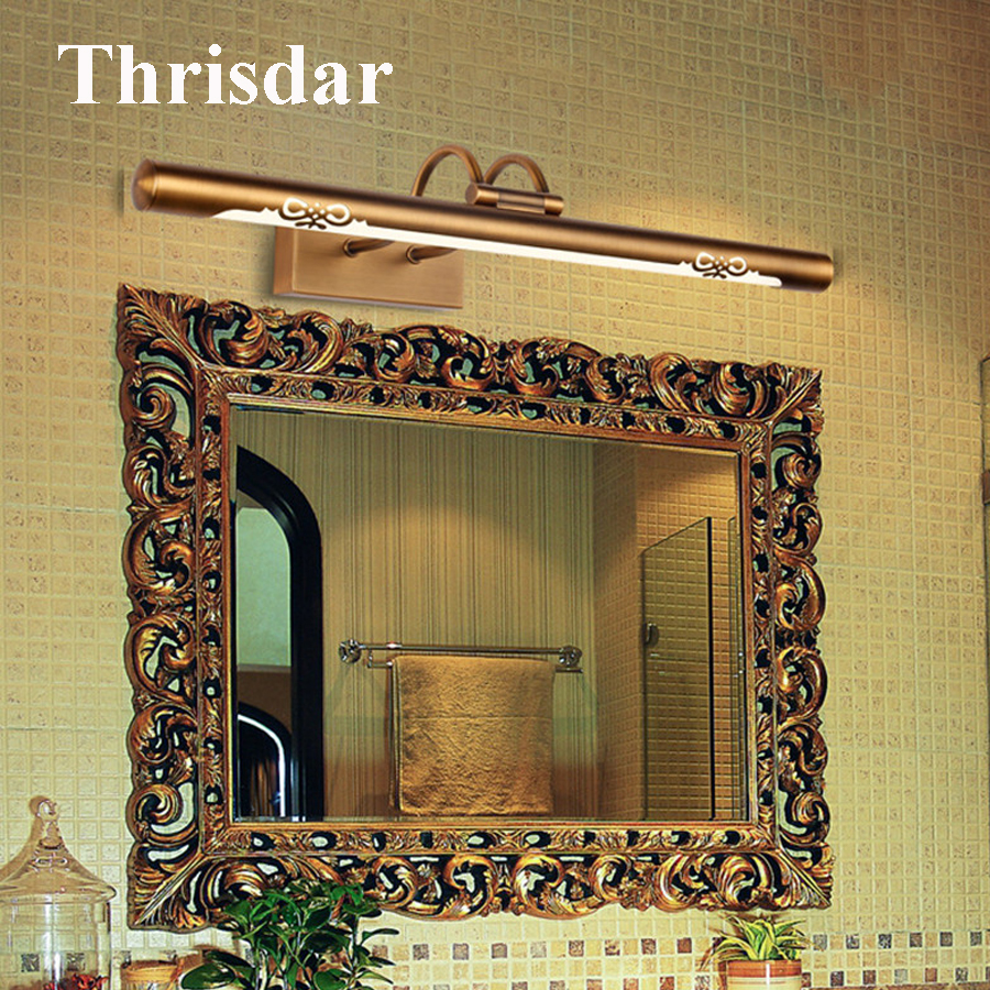 купить Thrisdar New 45CM 57CM Bathroom Mirror Wall Lamp Luxury Bathroom Toilet Mirror Lamp Retro Bronze Cabinet Vanity Mirror Light недорого