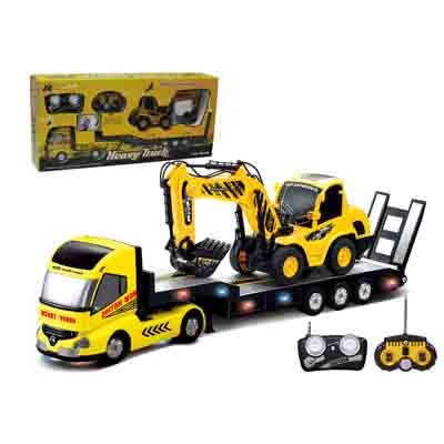 2Pcs/Set Big Remote Control Trailer + RC Excavator Kids Electric Digger with Big Rc Trailer Truck Car Toy with Remote Control childred 1 32 detachable kids electric big rc container truck boy model car remote control radio truck toy with sound