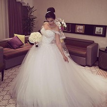 New Elegant Princess Wedding Dresses 2016 V-neck Ball Gown Lace Up Back Beads Tulle Chapel Train Bridal Gowns Vestido de noiva