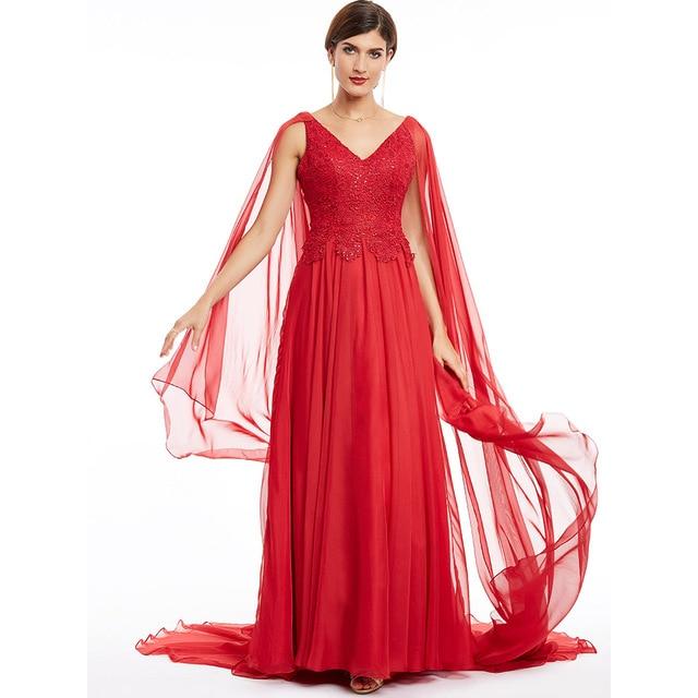 Robe de soirée longue rouge en dentelle, ligne a, col en v, robe élégante, bon marché, à perles, robes de fête mariage