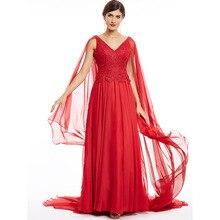 Vestido longo noite vestido, vestido vermelho decote em v com miçangas e rendas, vestido formal de festa de casamento a linha