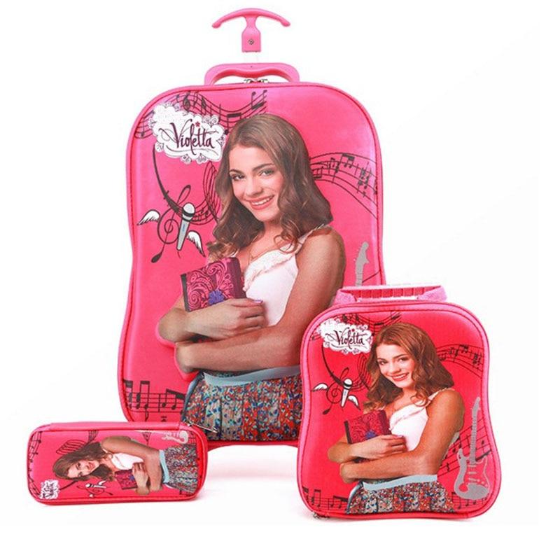 Bag Children's Luggage Cartoon Girls Violetta Set Suits 3D Baby 1 0YwzqZS