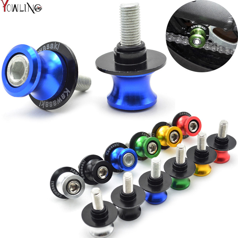 Motorcycle CNC M10 stand screws Swingarm Spools slider For KAWASAKI Z750 Z750R Z250 Z1000 NINJA 250/300 ZX-7/ZX-7R/ZX-7RR z800 for kawasaki z800 z1000 zx 6r zx 10r kle 650 versys motorcycle accessories swingarm spools slider 8mm stand screws blue