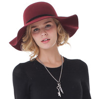 Lady 100% Wool Hat Female Autumn Winter Fedoras Hat New Ladies Large Brimmed Warm Leisure Cap Students Travel Cap B-7338