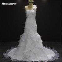 2016 Stunning Mermaid Ruffled Wedding Dresses With Convertible Strap Sequined Bridal Dresses Weddingdress Vestidos Noivas