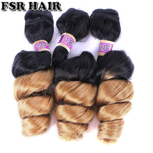 Image 1 - FSR black to golden burgundy Ombre Hair weave 16 18 20 Inches 3pcs/lot Synthetic Hair extension loose wave bundles for women