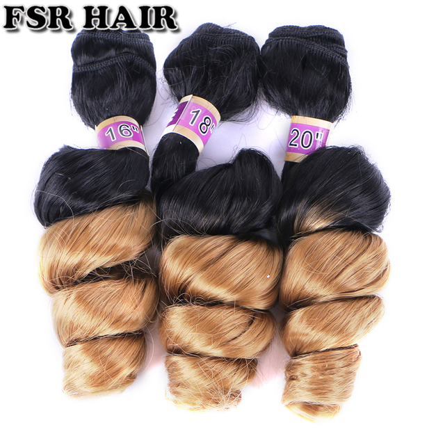 FSR black to golden burgundy Ombre Hair weave 16 18 20 Inches 3pcs/lot Synthetic Hair extension loose wave bundles for women