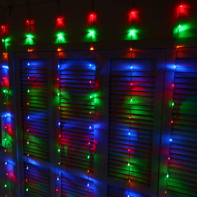 Placeholder Waterfall Christmas Lights Outdoor Led Curtain Lighting Decorations Garland Holiday Decoration