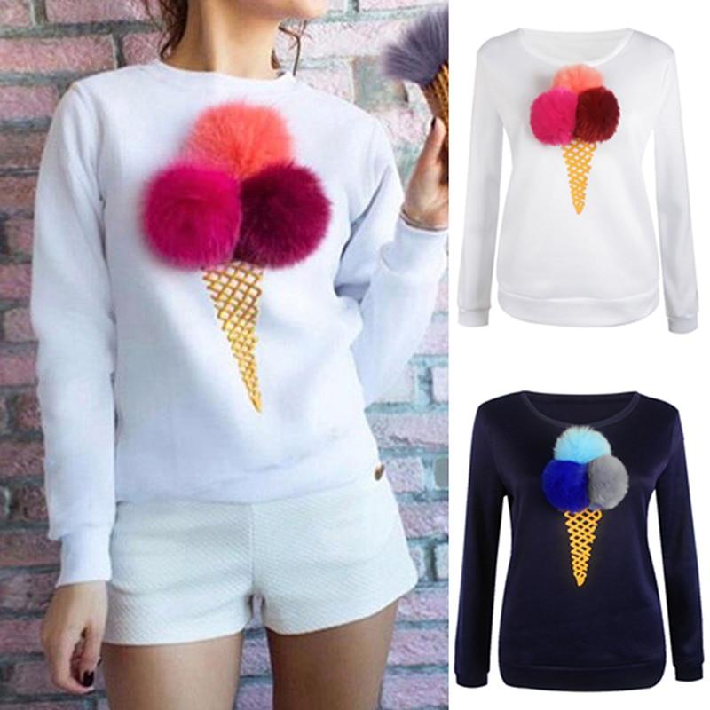 Autumn Women 3D Jumper Casual Sweatshirt Artificial Fur Plush Ball Ice Cream Women Pullovers Sweatshirts