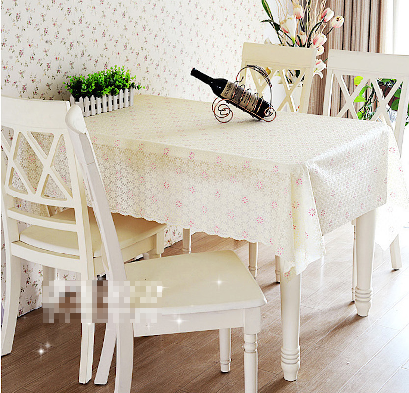 Quality Pvc Tablecloth Dining Table Plastic Cover Coffee End Table Cloth Round Square Rectangular Waterproof Mat Beige Pink Oem