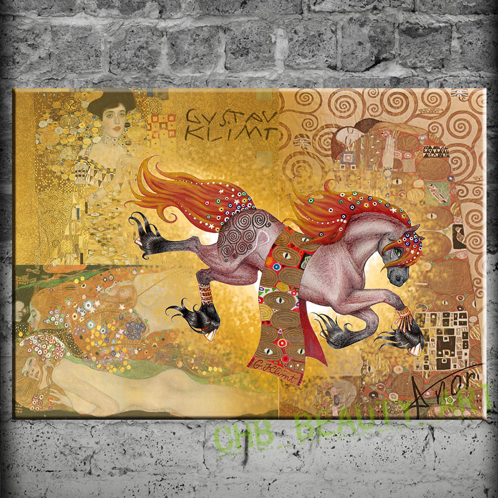 Gustav Klimt Horse Painting Art Print On Canvas Wall