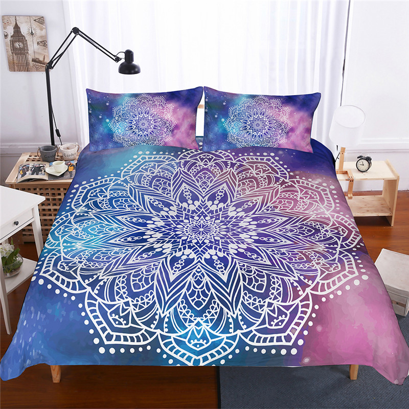 Bohemian Printed Bedding Set Blue Duvet Cover With Pillowcases Bed Set Mandala Bedclothes 3pcs King Queen