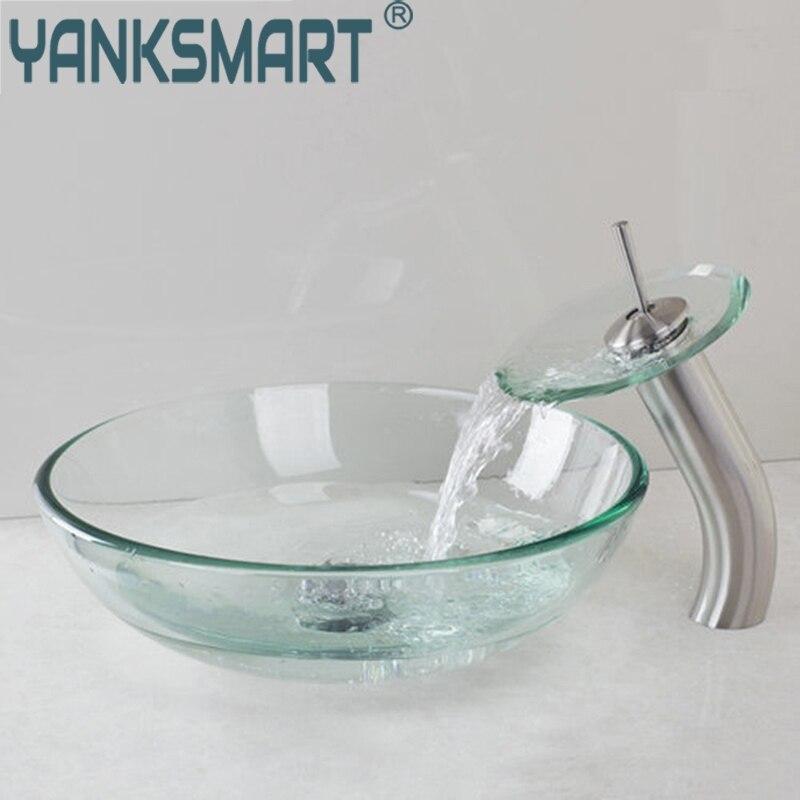 US $107.94 50% OFF|YANKSMART 3 farbe Wasserfall Transparent Tippen  Badezimmer Waschbecken Waschbecken Glas Hand Gemalt Toilette Bad Messing  Set ...