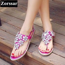 BIG SIZE 33-43 Summer season Ladies sneakers Informal flat heel rhinestone sandals Girl flip flops slipper 2017 Trend crystal womens flats