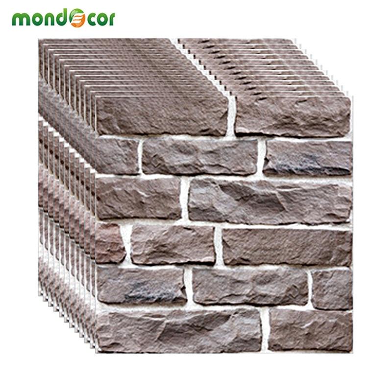 30*30cm PVC Modern Brick Stone 3D Mural Wallpaper DIY Self Adhesive Wall Paper Living Room Bedroom TV Background Home Decoration