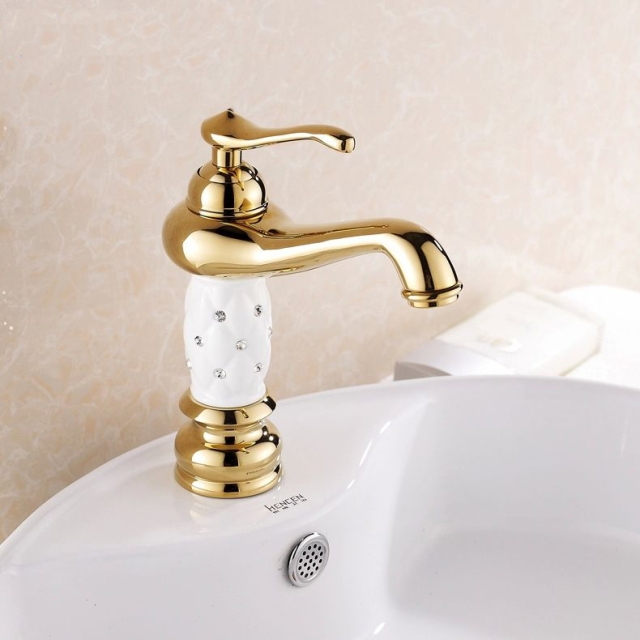 Luxury Crystal Studded Bathroom Basin Faucet Gold White Ceramic Single  Handle Classic Faucets Deck Mounted Sink Mixer Tap 815K