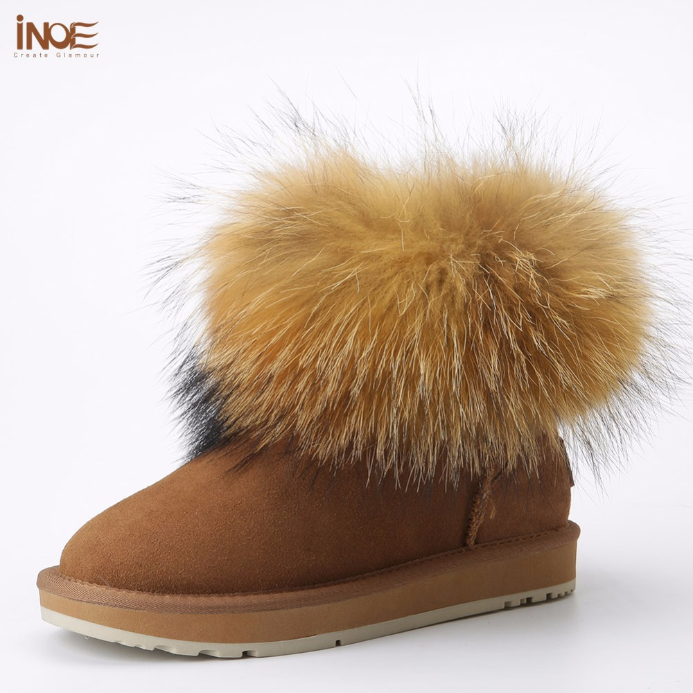 INOE cow suede leather big fox fur women short winter ankle snow boots for woman winter shoes black brown non-slip sole 35-44 2017 new women snow boots winter fox fur boots suede leisure shoes thick warm short boots plush girls fashion boots black brown