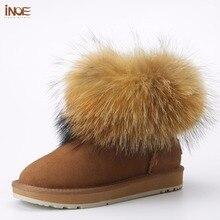 INOE vache en daim en cuir grande fourrure de renard femmes court hiver cheville neige bottes pour femme chaussures d'hiver noir brun semelle antidérapante 35-44