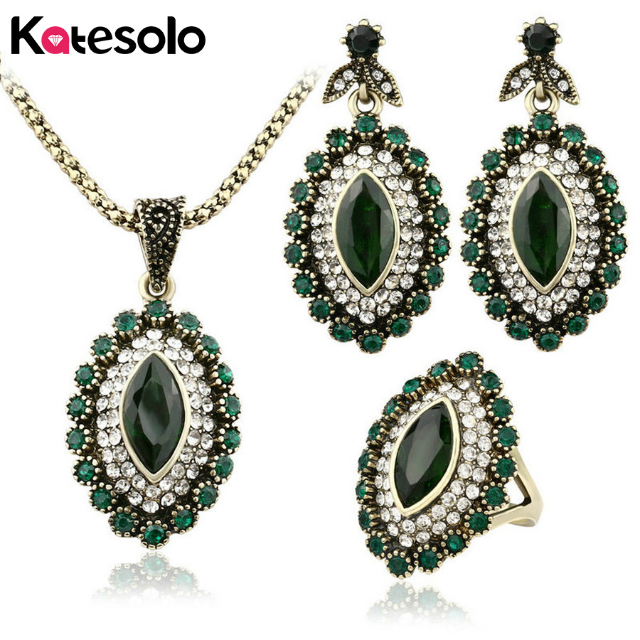 3Pcs Turkish Jewelry Luxury Green Turquoise Earrings And Necklace For Women Nigerian Wedding African Beads Jewelry Set Crystal