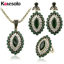 3Pcs Turkish Jewelry Luxury Green Crystal Earrings And Necklace