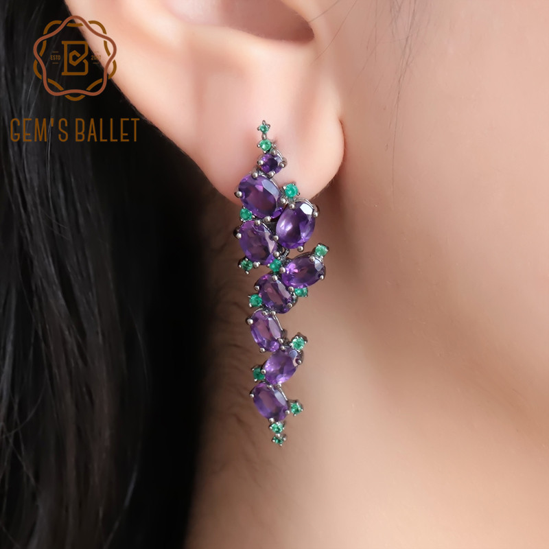 GEM S BALLET 9 78Ct Natural Amethyst Purple Gemstone Earrings Pure 925 Sterling Sliver Romantic Clip