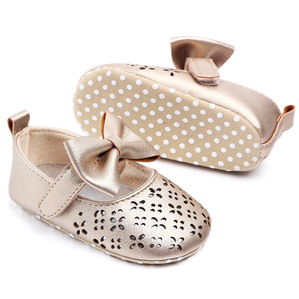Купить с кэшбэком New Fashion Baby Girl Shoes for 1 Year Old Soft Sole Walkers Infant Pink Shoes Toddler Christian Gift Mary Jane Flats with Bows