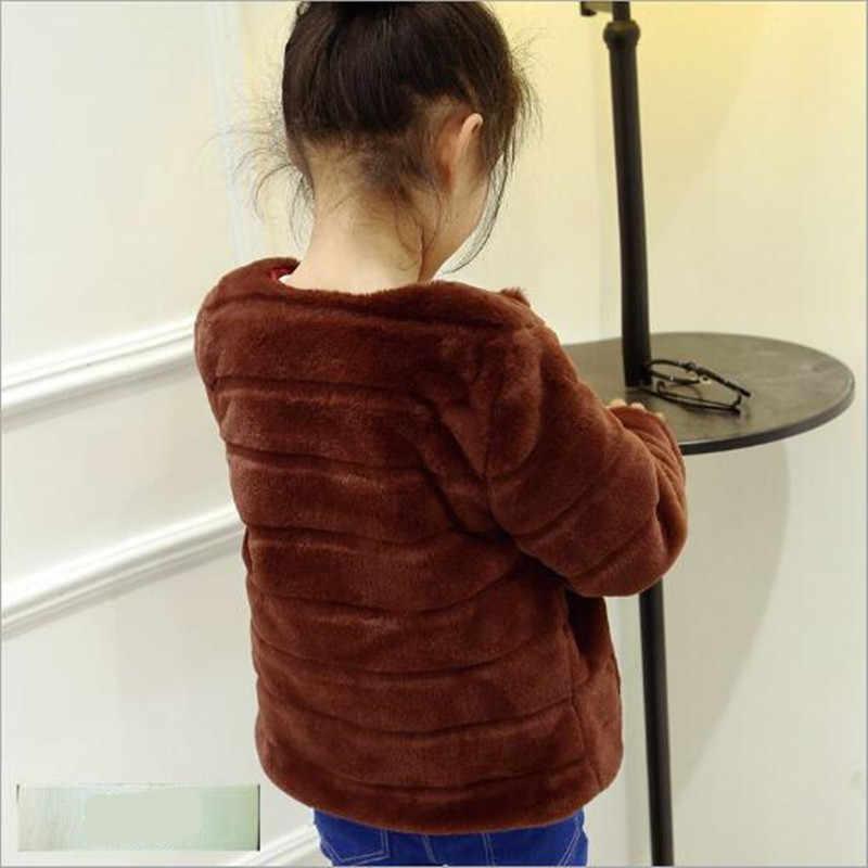 Clobee ילדי מעיל עבה חם פו פרווה מעיל ילד ילדה סתיו קצר רך קטיפה פרווה ארוך שרוול תינוק outerwearN222