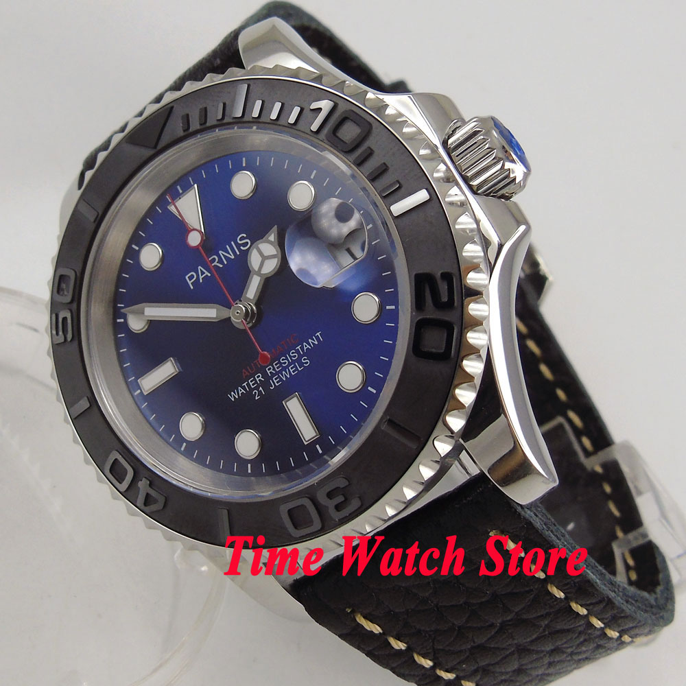 41mm Parnis Royal blue dial Sapphire glass date window 5ATM miyota automatic mens watch P88641mm Parnis Royal blue dial Sapphire glass date window 5ATM miyota automatic mens watch P886