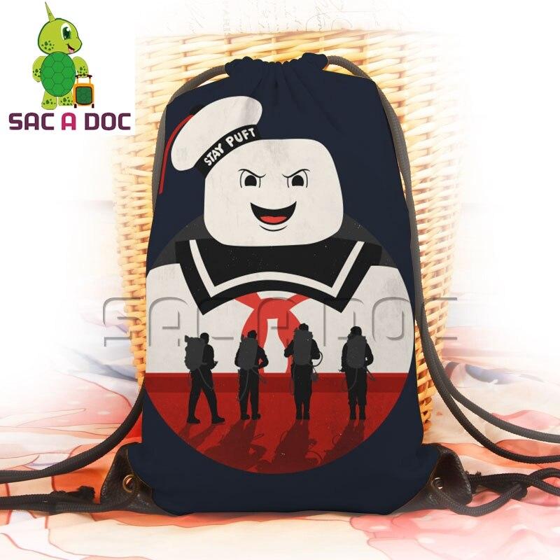 357575847702 Anime Ghostbusters Small Backpack Cartoon Stay Puft Marshmellow Man  Softback Boys Girls Drawstring Bag Children School