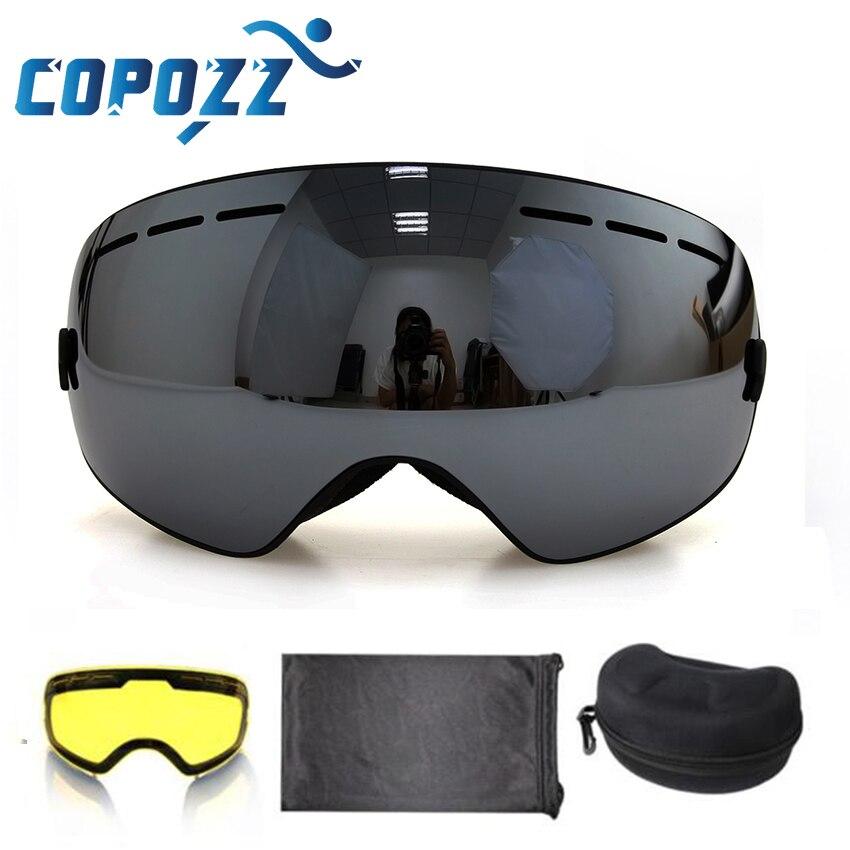 COPOZZ brand ski goggles 2 layer lens anti-fog UV400 day and night spherical snowboard glasses men women skiing snow goggles Set цены