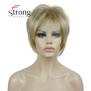 Image 2 - StrongBeauty Short Layered Blonde Thick Fluffy Full Synthetic Wig Heat Ok