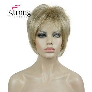 Image 2 - Strongbeauty 짧은 계층화 된 금발 두꺼운 솜털 전체 합성 가발 열 ok